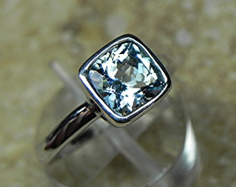 SALE. AAA Natural Blue Aquamarine Untreated Cushion Cut   7x7mm  1.22 Carats   in a 14K White gold Engagement ring. MMMM
