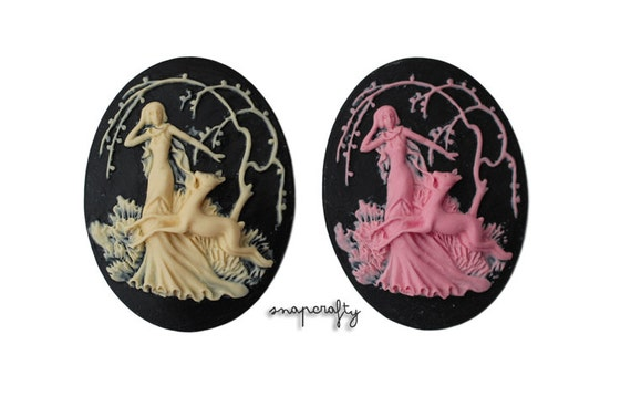 10pc 40x30mm deer and lady forest resin cameo, choose your colors: pink on black, ivory on black