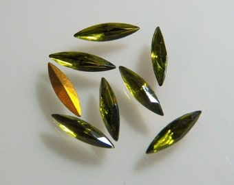 Vintage Czech Olivine 16x5mm Faceted Navette Glass Stones (6)