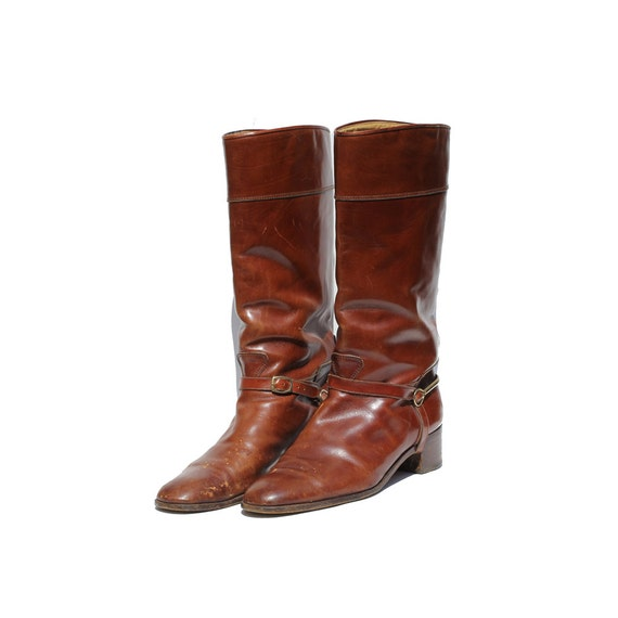 size: 10.5 Canyon Stone Brown Leather Ankle Strap Boots