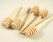 10 Wood Honey Dippers - 4 inch Unfinished Wooden Honey Dippers for DIY