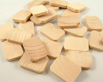 25 Wood Rectangles, Shapes - 1 inch x 3/16 inch Unfinished Wooden Rectangles for DIY