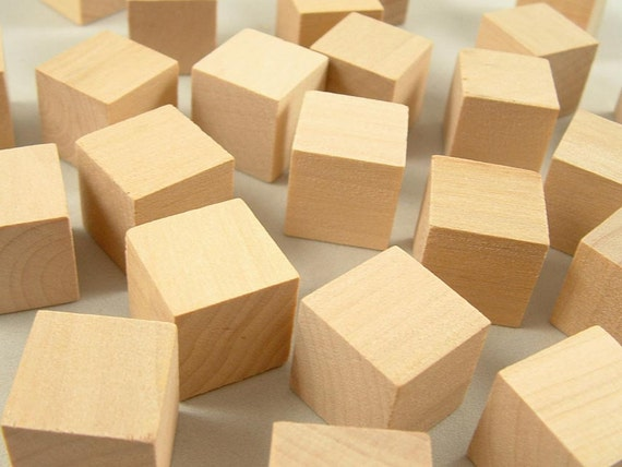 Wood blocks square inch cubes