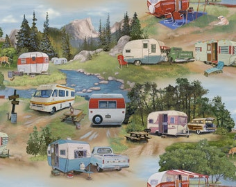 VINTAGE TRAVEL TRAILERS Green Campers Airstream Caravan - Cotton Quilt Fabric - by the Yard