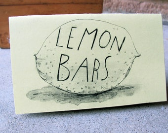 Lemon Bars recipe zine