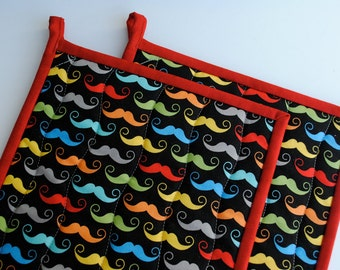 Geekly Chic Mustache Potholders,  Quilted Potholders, Fabric Potholders, Contemporary Potholders