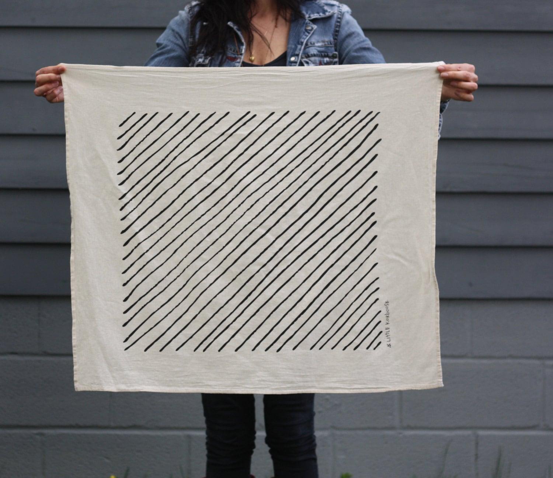 Tea Towels Printed For Schools: DIAGONAL STRIPE Tea Towel Screen Printed Organic Cotton