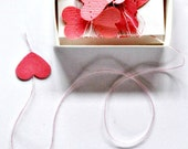 Tiny Pink Hearts Stitched Paper Garland in a Box - as seen Front Page Etsy