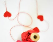 Tiny VALENTINE Hearts Stitched Paper Garland Red Wedding Engagement Birthday  - seen Front Page Etsy