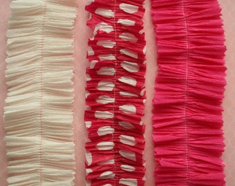 Crepe Paper Ruffle Sampler Pink Polka Dot Valentine - 2 Inch Handmade Hot Pink Crepe Paper Ruffles - DIY Valentine Candy Box Seetheart Trim