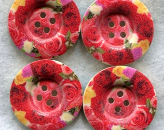 Red Rose Buttons Decorated Funky Wooden Buttons 23mm (1 inch) Set of 8 /BT201