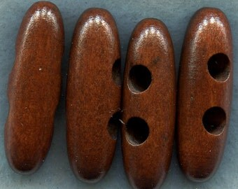 Mahogany Brown Wood Toggle Buttons Wooden Buttons 40mm (1 1/2 inch) Set of 8 /BT214