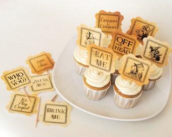 INSTANT DOWNLOAD (Digital) Vintage Alice Eat Me Cupcake Toppers, Antique Background - Mad Hatter in Wonderland Tea Service