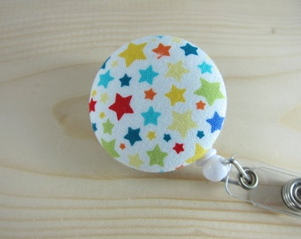 Badge Holder Retractable Badge Reel - ID Badge Holder (Clip-on) - Stars