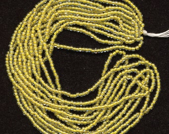 """Vintage Yellow Lined Seed Beads Clear w/ Lemon Lining 72 """" Total Size 12/0"""
