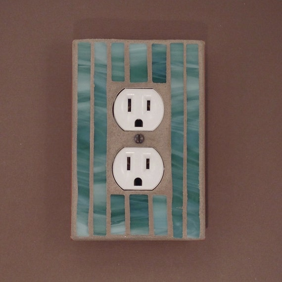 Decorative wall plates for electrical outlets : Green decorative outlet cover wall plate stained