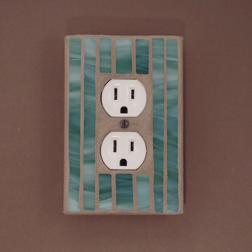 Green Decorative Outlet Cover Wall Outlet Plate Stained