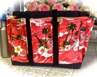 Hawaiian Hibiscus and Plumaria Travel Tote Bag with Mulit Pockets for your Knitting, Gardening, Travel or Baby Diaper Bag