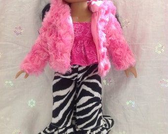 Dark Pink Furry Coat for Corolle Les Cheries, Groovy Girl, Hearts for Hearts Girls or Paola Reina