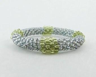 Sparkle Bangle, Bead Crochet Rope Bracelet, Ballroom Wedding or Prom Jewelry- Item 1308