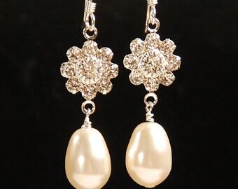 Bridesmaid Earring, Rhinestone Flower and Pearl Earring, Swarovski Elements Pearl Earring,  Bridal Earring, Wedding Earring, Sterling Silver