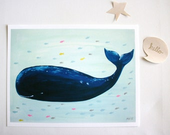 Nursery art Print-Jo Jo the Whale- Print- kids decor- kids wall art-baby art