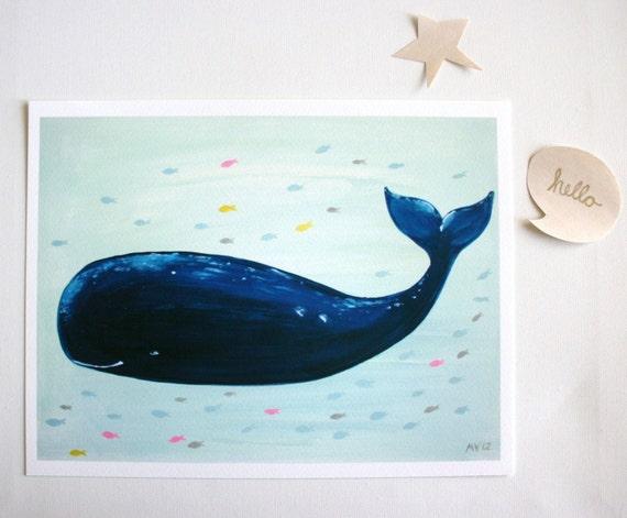 Nursery art Print-Jo Jo the Whale- Print- kids decor- kids wall art-baby art
