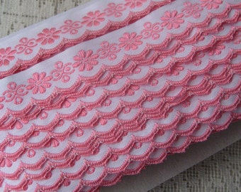 Czech Republic Woven Pink Embroidered Floral Cotton Trim 20mm 2 Yards  Folk Costume Trim