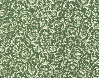 Green Florentine Vines Print Italian Paper ~ Carta Varese Italy  IPV805G