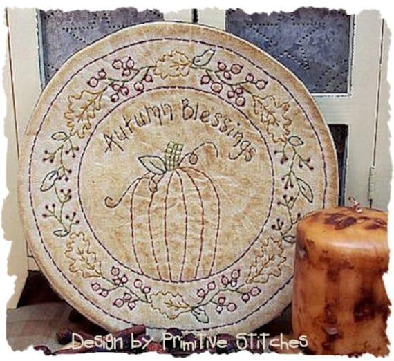 Autumn Blessings Candle Mat by Primitive Stitches--Primitive Stitchery E-Pattern---Instant Download