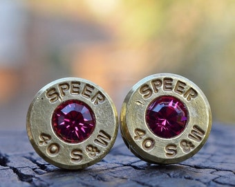 Bullet Earrings stud or post, brass/gold Speer .40 S&W with Swarovski crystals
