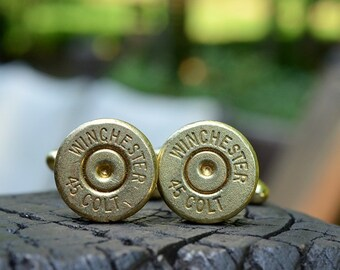 Wedding cuff links Bullet cuff links  Winchester .45 Colt cuff links gold cuff links Winchester cuff links Free Shipping USA