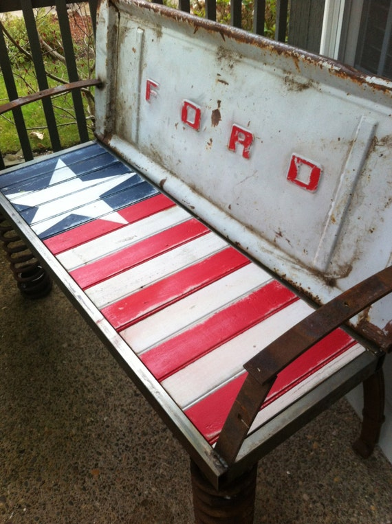 Rusty Old Car Parts Patriotic Bench