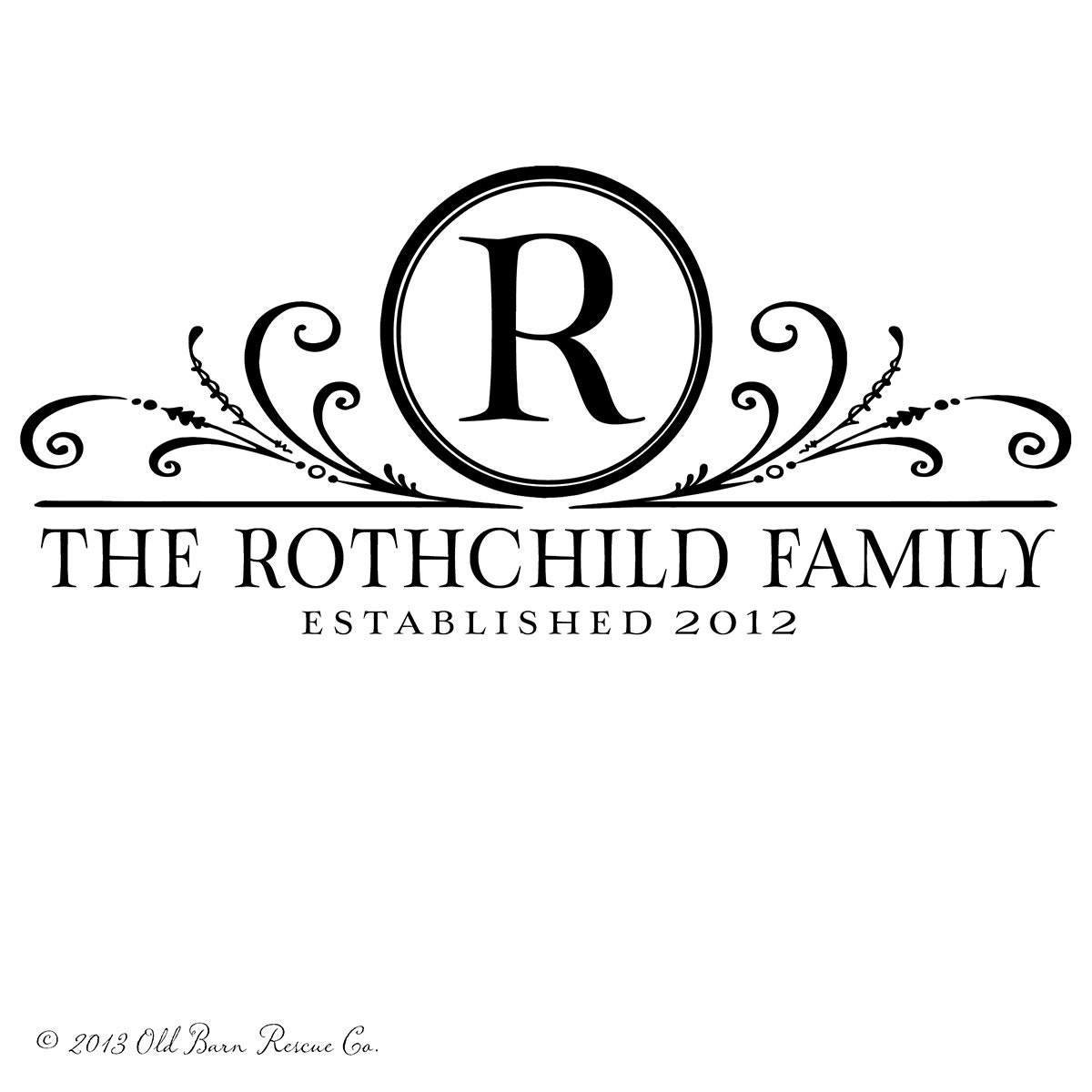Family Monogram With Established Date By Oldbarnrescuecompany
