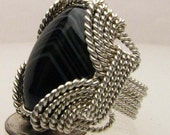 Handmade Solid Sterling Silver Wire Wrap Black Striped Onyx Ring