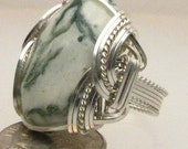 Handmade Sterling Silver Wire Wrap Green Tree Agate Ring