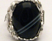 Handmade Sterling Silver Wire Wrap Black and White Onyx Ring