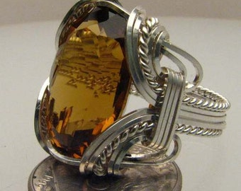 Handmade  Solid Sterling Silver Wire Wrap Golden Citrine Ring