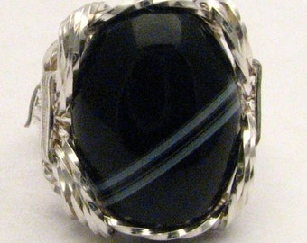 Handmade Wire Wrapped Sterling Silver Ring Wire Wrap Black and White Onyx Ring Stocking Stuffer