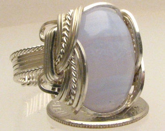 Handmade Sterling Silver Wire Wrap Blue Lace Agate Ring