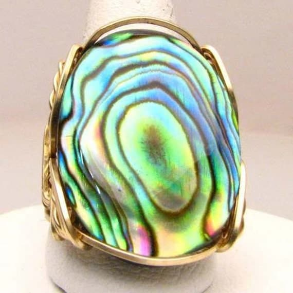 Handmade 14kt Gold Filled Wire Wrapped Abalone Shell Ring