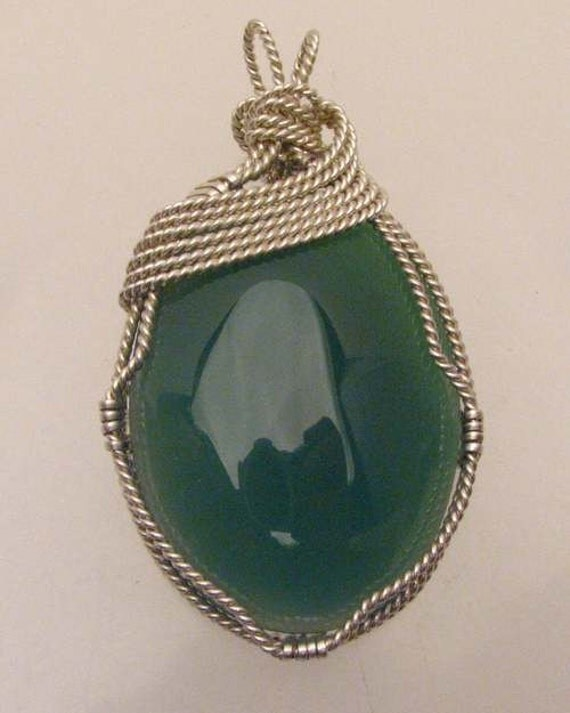 Handmade Solid Sterling Silver Wire Wrapped Vintage Green Onyx Cabochon Pendant