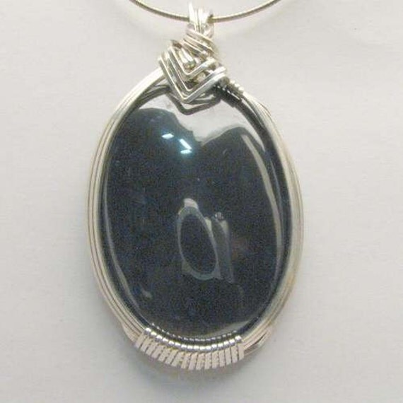 Handmade Solid Sterling Silver Wire Wrap Hematite Pendant