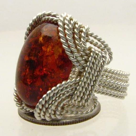 Handmade Solid Sterling Silver Wire Wrap Amber Ring