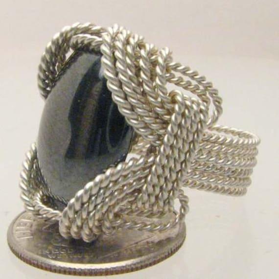 Handmade Sterling Silver Wire Wrap Hematite