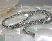 Round 4mm Metallic Half tone Silver Chinese Crystal strand 100pcs