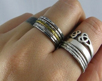 Mixed Metal Hammered Stacking Rings - Set of 4 Sterling and 1 Brass