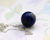 Cobalt Blue Lapis Pendant Necklace, 7th Anniversary, 9th Anniversary, December Birthstone, Single Stone Necklace, Sophisticated Jewelry