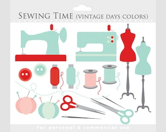 Sewing clipart - whimsical sewing clip art, green, pink, red, vintage sewing machine, buttons, thread, needle, pincushion, scissors