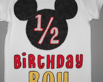 Mickey Mouse themed 1/2 Birthday Boy  Bodysuit with Name  NB-24 Month Bodysuit. 6 month milestone
